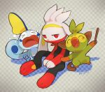 >_< :d blush checkered checkered_background closed_eyes crying fang gen_8_pokemon grookey holding holding_stick kikuyoshi_(tracco) looking_at_viewer open_mouth pokemon pokemon_(creature) raboot red_eyes signature sitting smile sobble stick tears tongue