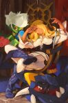 1girl absurdres alternate_costume arceus black_eyes blonde_hair blue_footwear boots bracelet breasts chair commentary crossed_legs cynthia_(pokemon) dagger eyelashes garchomp gen_4_pokemon glint grey_pupils hair_ornament hair_over_one_eye hands_up head_tilt highres holding jewelry knife long_hair mythical_pokemon pants parted_lips pokemon pokemon_(creature) pokemon_(game) pokemon_dppt roserade scrooge_mckhyle sitting smile stone_floor weapon white_pants
