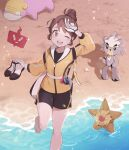 1girl ;d backpack bag bangs barefoot brown_eyes brown_hair commentary_request eyelashes galarian_form galarian_slowpoke gen_1_pokemon gen_4_pokemon gen_8_pokemon gloria_(pokemon) gloves hair_bun hand_up holding holding_clothes holding_footwear jacket knees kubfu legendary_pokemon master_dojo_uniform nikki_(ninciav) one_eye_closed open_mouth pokemon pokemon_(creature) pokemon_(game) pokemon_swsh rotom rotom_phone sand shirt shoes_removed shore short_hair shorts side_slit side_slit_shorts smile staryu toes tongue upper_teeth water white_gloves yellow_jacket