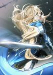 1girl absurdres ahoge armor blonde_hair blue_cape blue_eyes breastplate cape commentary_request gauntlets highres holding holding_sword holding_weapon long_hair looking_at_viewer looking_back messy_hair original ossan_zabi_190 plate_armor reverse_grip shoulder_armor solo sword weapon
