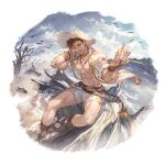 1boy abs bare_pectorals bird bracelet brown_hair choker clouds cloudy_sky conch ear_piercing foot_out_of_frame gladiator_sandals granblue_fantasy hat jacket jewelry lobelia_(granblue_fantasy) looking_at_viewer navel necklace official_art one_eye_closed open_clothes open_jacket pectorals piercing sandals seashell shell shorts sitting sky sleeves_rolled_up smile solo straw_hat transparent_background tree water white_shorts