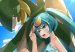 1girl :d arm_tattoo bangs blush clouds crossover day eyelashes gen_3_pokemon green_eyes green_hair green_nails hand_up hatsune_miku highres long_hair nail_polish number open_mouth outdoors pokemon pokemon_(creature) reirou_(chokoonnpu) shiny shiny_skin sky sleeveless smile sunglasses symbol-only_commentary tattoo tied_hair tongue tropius twintails upper_teeth vocaloid white-framed_eyewear