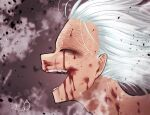 1boy bangs blood blood_from_mouth blood_on_face bloody_tears blurry blurry_background boku_no_hero_academia brown_background commentary_request face grey_background grey_hair hair_slicked_back highres male_focus open_mouth scar scar_on_mouth shigaraki_tomura signature solo teeth white_hair yu_shi_(ametoki_ichi)
