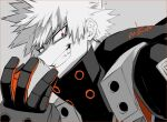 1boy armor bakugou_katsuki bangs black_gloves boku_no_hero_academia commentary_request evil_grin evil_smile gloves grey_background grin looking_at_viewer male_focus mkm_(mkm_storage) monochrome red_eyes red_gloves short_hair signature simple_background smile solo spiky_hair spot_color teeth upper_body