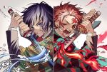 2boys black_hair blood blood_on_face bloody_tears blue_eyes checkered clenched_teeth earrings fire haori highres holding holding_sword holding_weapon japanese_clothes jewelry kamado_tanjirou kimetsu_no_yaiba long_sleeves male_focus multiple_boys one_eye_closed open_mouth redhead scar scar_on_face simple_background sword teeth tomioka_giyuu twitter_username upper_body usu32 water weapon