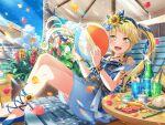 bang_dream! blonde_hair blush dress long_hair smile summer tsurumaki_kokoro yellow_eyes