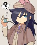 1girl ;) ? bags_under_eyes bangs black_hair blazer bow brown_capelet brown_headwear buttons capelet closed_mouth collared_shirt commentary deerstalker detective eyebrows_visible_through_hair green_eyes grey_background hand_up hat hat_bow holding holding_pipe hospital_king jacket kuroki_tomoko long_hair long_sleeves looking_at_viewer necktie official_alternate_costume one_eye_closed pink_bow pipe purple_neckwear school_uniform shirt simple_background smile solo spoken_question_mark thought_bubble upper_body watashi_ga_motenai_no_wa_dou_kangaetemo_omaera_ga_warui! white_shirt yellow_jacket