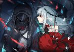 1girl 1other aqua_gloves arknights ascot bangs bare_shoulders black_gloves black_neckwear blood bloody_clothes blush breasts clothing_cutout commentary_request covering_face detached_sleeves doctor_(arknights) dress fish gloves hands_on_another's_shoulder headgear highres hood hooded_jacket jacket long_hair long_sleeves looking_at_another mabing navel_cutout no_hat no_headwear red_dress red_eyes short_dress silver_hair skadi_(arknights) skadi_the_corrupting_heart_(arknights) upper_body very_long_hair visor