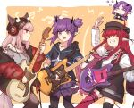 4girls animal_ears arknights asymmetrical_legwear beanie black_headwear black_legwear black_shirt black_vest camera chibi chibi_inset chinese_commentary closed_eyes commentary_request demon_girl demon_horns demon_tail ears_through_headwear electric_guitar feet_out_of_frame fox_ears fox_girl fox_tail frostleaf_(arknights) grey_shirt grin guitar hair_ornament hairclip hat headphones hibiscus_(arknights) highres holding holding_camera holding_instrument horns implied_extra_ears instrument jacket lava_(arknights) long_hair mabing medium_hair mismatched_legwear multiple_girls music musical_note necktie off-shoulder_shirt off_shoulder open_clothes open_jacket oripathy_lesion_(arknights) pantyhose playing_instrument pointy_ears purple_hair purple_skirt red_eyes red_jacket red_legwear red_neckwear redhead shirt short_twintails skirt smile tail teeth thigh-highs tooth_necklace twintails vest vigna_(arknights) violet_eyes white_shirt