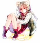 1girl bangs blonde_hair closed_mouth full_body hair_between_eyes highres jacket letterman_jacket little_red_riding_hood_(sinoalice) long_hair looking_at_viewer reality_arc_(sinoalice) red_eyes red_footwear red_jacket shoes simple_background sinoalice sneakers solo towada-san_(thank39) twintails v-shaped_eyebrows white_background