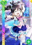 black_hair blush character_name closed_eyes dress long_hair love_live!_school_idol_festival love_live!_school_idol_project smile twintails yazawa_nico
