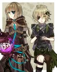 2boys :o antenna_hair asymmetrical_legwear bangs black_gloves black_jacket blue_butterfly boots brown_footwear brown_hair brown_hood brown_legwear bug butterfly cage closed_mouth covering_one_eye eyepatch gloves green_eyes green_hair gretel_(sinoalice) hair_between_eyes hansel_(sinoalice) highres insect jacket long_sleeves looking_at_viewer multiple_boys open_mouth pinocchio_(sinoalice) short_hair short_sleeves single_glove single_thighhigh sinoalice thigh-highs thigh_boots towada-san_(thank39) uneven_legwear