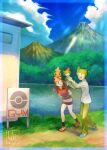 1boy 1girl :d bandana bangs bike_shorts black_legwear blue_footwear border brown_hair clouds collared_shirt commentary_request day gen_3_pokemon grass green_hair green_pants highres holding holding_pokemon kikuyoshi_(tracco) long_sleeves may_(pokemon) mountain on_head open_mouth outdoors pants pokemon pokemon_(creature) pokemon_(game) pokemon_gym pokemon_on_head pokemon_rse ralts red_shirt shirt shoes short_hair short_sleeves signature skirt sky smile socks sparkle standing torchic wally_(pokemon) water white_skirt
