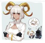 1other 2girls ? ?? ambiguous_gender animal_ears arknights beeswax_(arknights) black_gloves black_jacket carnelian_(arknights) chibi chibi_inset chinese_commentary chinese_text cleavage_cutout clothing_cutout collar cropped_jacket cropped_torso doctor_(arknights) eyebrows_visible_through_hair gloves goat_ears goat_girl goat_horns half_gloves highres holding holding_staff horns infection_monitor_(arknights) jacket looking_at_viewer mabing mask multiple_girls red_eyes shirt siblings sisters solo_focus staff translated upper_body white_hair white_jacket white_shirt yellow_eyes