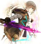 1boy bangs brown_dress brown_gloves brown_hair brown_hood closed_mouth dress gloves green_eyes gretel_(sinoalice) hair_between_eyes highres holding holding_sword holding_weapon long_sleeves looking_to_the_side otoko_no_ko short_hair simple_background single_glove sinoalice solo sword towada-san_(thank39) weapon white_background