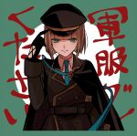 1boy bangs black_gloves brown_hair brown_jacket cape closed_mouth gloves green_background green_eyes green_neckwear gretel_(sinoalice) hair_between_eyes hat jacket long_sleeves looking_at_viewer military military_hat military_jacket military_uniform necktie portrait short_hair sinoalice smile solo towada-san_(thank39) two-tone_background uniform white_background