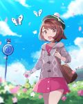 1girl :d backpack bag bangs blurry blush bob_cut brown_bag brown_eyes brown_hair budew bush butterfree buttons cable_knit cardigan clouds collared_dress commentary_request day dress gen_1_pokemon gen_4_pokemon gen_8_pokemon gloria_(pokemon) green_headwear grey_cardigan hat highres holding holding_poke_ball holding_strap hooded_cardigan nikki_(ninciav) open_mouth outdoors petals pink_dress poke_ball poke_ball_(basic) pokemon pokemon_(creature) pokemon_(game) pokemon_swsh rookidee short_hair sky smile tam_o'_shanter tongue upper_teeth wooloo