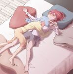 2girls absurdres bangs between_breasts blanket blue_hair blush breasts closed_eyes closed_mouth commentary eyebrows_visible_through_hair face_between_breasts full-face_blush hair_between_eyes hair_down head_between_breasts head_on_pillow heterochromia highres hikimayu hololive houshou_marine hug long_hair long_sleeves looking_at_another multiple_girls on_bed open_mouth pajamas pillow red_eyes redhead sweat usada_pekora virtual_youtuber vitalizingwind yellow_eyes yuri
