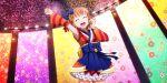 armpits blush closed_eyes dress love_live!_school_idol_festival_all_stars orange_hair short_hair smile takami_chika yukata