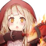 1girl :o bangs belt belt_buckle blonde_hair blurry blurry_foreground blush buckle fire hair_between_eyes hair_ribbon highres little_red_riding_hood_(sinoalice) long_hair looking_at_viewer portrait red_hood ribbon rico_tta simple_background sinoalice solo white_background yellow_eyes
