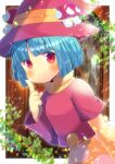 1girl asymmetrical_sleeves bangs blue_hair blunt_bangs blurry blurry_background blush closed_mouth commentary_request depth_of_field dress eyebrows_visible_through_hair hand_up hat index_finger_raised kou_hiyoyo layered_sleeves long_sleeves looking_at_viewer mushroom orange_dress original polka_dot polka_dot_dress red_eyes red_headwear red_shirt shirt short_hair short_over_long_sleeves short_sleeves smile solo witch_hat