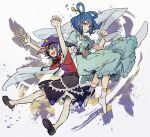 2girls :d aqua_dress arms_up bangs belt black_skirt blue_eyes blue_hair breasts closed_mouth commentary_request dress eyebrows_visible_through_hair flat_chest flower full_body hagoromo hair_ornament hair_rings hair_stick hand_on_another's_head hat_ornament holding_shawl jiangshi kaku_seiga looking_at_another medium_breasts miyako_yoshika multiple_girls ofuda open_clothes open_mouth open_vest outstretched_arms pink_flower pointy_ears puffy_short_sleeves puffy_sleeves purple_hair red_shirt shawl shirt short_hair short_sleeves simple_background skirt smile star_(symbol) star_hat_ornament syuri22 touhou vest violet_eyes white_background white_vest zombie_pose