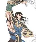1boy abs alternate_costume arm_up armor brown_eyes brown_hair clenched_hand egyptian_clothes gideon_jura highres long_hair magic:_the_gathering male_focus manly muscular muscular_male official_alternate_costume open_hand red_wingp2 shading shield thick_eyebrows whip white_background