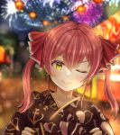 1girl ;) absurdres anchor_print black_kimono blurry blurry_background closed_mouth depth_of_field fireworks food_stand hair_ribbon highres hololive houshou_marine japanese_clothes kimono looking_at_viewer medium_hair nori_55512 one_eye_closed print_kimono red_ribbon redhead ribbon smile solo summer_festival twintails v-shaped_eyebrows virtual_youtuber yellow_eyes yukata