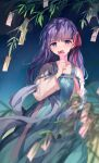 1girl bangs bison_cangshu blush collarbone commentary covered_mouth eyebrows_visible_through_hair fate/stay_night fate_(series) hair_ribbon hand_up highres holding long_hair long_sleeves looking_at_viewer matou_sakura night night_sky outdoors purple_hair red_ribbon ribbon sky solo star_(sky) starry_sky symbol-only_commentary tanabata tanzaku violet_eyes