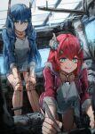 2girls android bag blue_eyes blue_hair doll_joints drawing duffel_bag hands_on_own_knees highres hood hoodie joints laboratory long_hair looking_down multiple_girls redhead robot_ears siblings sisters taiu tongue tongue_out