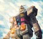 absurdres adrianocadau clouds cloudy_sky damaged dirty earth_federation english_commentary fog glowing glowing_eyes gun gundam highres light light_rays machine_gun machinery mecha mobile_suit mobile_suit_gundam realistic rx-78-2 science_fiction shiny sky upper_body weapon