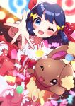 1girl ;d absurdres bangs blue_eyes blurry blush bow buneary collared_dress commentary dawn_(pokemon) dress eyelashes frills gen_4_pokemon hair_bow hand_up highres long_hair one_eye_closed open_mouth poke_ball_symbol pokemon pokemon_(creature) pokemon_(game) pokemon_bdsp pon_yui red_bow shiny shiny_hair smile spread_fingers tongue yellow_bow
