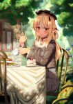 1girl absurdres blonde_hair braid brown_jacket bug cake chair chromatic_aberration cup dark_skin dorianpanda elf food hat highres hololive insect jacket ladybug macaron pointy_ears red_eyes sailor_collar shiranui_flare sitting smile solo strawberry_shortcake sunlight table teacup tree tree_shade