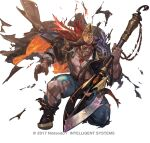1boy beard black_coat black_footwear black_headwear black_sclera blue_pants boots coat coat_on_shoulders colored_sclera commentary_request dark-skinned_male dark_skin eyepatch facial_hair fire_emblem fire_emblem_heroes full_body gem grin hand_up happy hat headband holding holding_polearm holding_weapon jewelry long_hair long_sleeves looking_at_viewer male_focus muscular muscular_male necklace official_alternate_costume official_art one_knee open_clothes open_shirt pants pectorals pirate pirate_hat polearm red_eyes red_headband redhead ring rope ruby_(gemstone) sash scar scar_across_eye scar_on_face shirt simple_background smile so-taro solo surtr_(fire_emblem) teeth tooth_necklace torn_clothes torn_coat torn_pants torn_shirt two-sided_coat watermark weapon white_background white_shirt