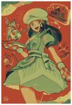 1girl :d apron black_hair border buttons chef_hat commentary_request dawn_(pokemon) dress drinking_straw glass grey_eyes hair_ornament hairclip hat holding holding_tray long_hair official_alternate_costume omyo_(myomyomyo22) open_mouth oven_mitts pokemon pokemon_(game) pokemon_masters_ex short_sleeves sidelocks signature smile solo sparkle spoon tongue tray upper_teeth white_border white_headwear