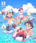 1girl 2boys ash_ketchum barefoot black_hair blue_eyes bruxish chloe_(pokemon) clouds commentary_request dated day ducklett gen_1_pokemon gen_4_pokemon gen_5_pokemon gen_7_pokemon gen_8_pokemon goh_(pokemon) green_eyes highres innertube long_hair mei_(maysroom) multiple_boys navel on_head open_mouth outdoors pikachu pokemon pokemon_(anime) pokemon_(creature) pokemon_on_head pokemon_swsh_(anime) pyukumuku raboot redhead revision riolu shirtless sitting sky snorkel sobble sunglasses swimming swimsuit teeth tongue water yamper