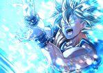 1boy attack blue_eyes dougi dragon_ball energy energy_beam kamehameha male_focus mattari_illust muscular muscular_male open_mouth solo son_goku super_saiyan wristband