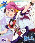 blush character_name dress idolmaster_million_live!_theater_days long_hair maihama_ayumu pink pink_hair ponytail smile