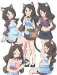 1girl :d absurdres animal_ear_fluff animal_ears baby basket black_choker black_footwear blue_bow blue_eyes blush bow brown_hair camisole cat_ears cat_tail choker closed_mouth clothes_lift fish hair_bow hand_up high_heels highres invisible_chair lifted_by_self long_hair midriff multiple_views nekoze_(s22834712) open_mouth original pregnant purple_shirt shirt shirt_lift sitting smile tail tu_ya_(nekoze) very_long_hair