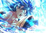 1boy aura blue_eyes blue_hair dougi dragon_ball dragon_ball_super male_focus mattari_illust muscular muscular_male open_mouth solo son_goku super_saiyan super_saiyan_blue transformation