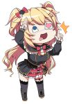 +tic_nee-san 1girl akai_haato bangs blonde_hair blue_eyes boots bow bowtie cameo chibi commentary_request eyebrows_visible_through_hair eyepatch finger_gun haaton_(akai_haato) hair_bow hair_ornament hairclip heart heart_hair_ornament highres hololive konnyaku_(kk-monmon) long_hair medical_eyepatch one_eye_covered open_mouth parody salute simple_background solo thigh-highs thigh_strap tongue tongue_out two-finger_salute virtual_youtuber white_background