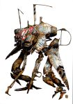absurdres damaged highres jan_buragay mecha no_humans original rust science_fiction simple_background solo standing walker white_background