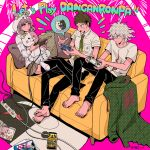 :o ahoge album_cover alternate_costume animal_ears bangs barefoot black_pants bow breast_pocket brown_eyes brown_hair brown_skirt buttons cable collared_shirt commentary_request controller copyright_name cosplay couch cover dangan_ronpa_(series) dangan_ronpa_2:_goodbye_despair diaper double-breasted ear_bow fake_animal_ears flipped_hair game_console game_controller game_cover green_jacket green_neckwear grey_hair halftone handheld_game_console hands_up highres hinata_hajime holding holding_controller holding_phone hood hood_up jacket jacket_removed komaeda_nagito long_sleeves lying miniskirt monokuma monomi_(dangan_ronpa) monomi_(dangan_ronpa)_(cosplay) multiple_boys nanami_chiaki necktie no_shoes on_couch orange_bow palm_tree_print pants phone pillow pink_background pink_hair playing_games playstation_controller playstation_portable pocket print_shirt rabbit_ears shirt short_sleeves skirt smile speech_bubble tege_(tege_xxx) thigh-highs white_shirt