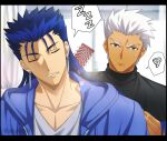 2boys akujiki59 archer_(fate) artist_name black_shirt blue_jacket blurry brush brushing closed_eyes closed_mouth collarbone commentary_request cu_chulainn_(fate) cu_chulainn_(fate/stay_night) earrings fate_(series) grey_shirt holding hood hooded_jacket jacket jewelry lens_flare male_focus mouth_drool multiple_boys official_style parted_lips shirt sleeping spiky_hair spoken_squiggle spoken_zzz squiggle sweatdrop upper_body watermark white_hair zzz