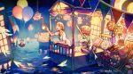 1boy 1girl akagi_shun balloon bangs banner barefoot basket bed black_footwear black_pants black_vest blonde_hair blue_eyes blueberry braid candy collared_dress cup cupcake doughnut dress food fork fruit glowing halloween holding holding_cup holding_fork jack-o'-lantern kneeling lantern lollipop long_hair neck_ribbon on_bed open_mouth original pants pillow pouring pumpkin pumpkin_mask ribbon shirt shoes short_sleeves sitting smile strawberry string_lights surreal tea teacup teapot twitter_username vest water white_dress white_shirt window