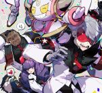 1girl 2boys arm_behind_head armband bangs black_shirt blunt_bangs blush buttons closed_eyes closed_mouth coat collared_shirt commentary_request dark-skinned_male dark_skin drill_hair eyeshadow eyewear_on_head fur-trimmed_coat fur_trim gen_2_pokemon gen_4_pokemon gen_6_pokemon grey_hair hand_up heart highres honchkrow hoopa hoopa_(confined) jacket korean_commentary lear_(pokemon) lipstick long_hair long_sleeves makeup multiple_boys muscular muscular_male mythical_pokemon necktie open_mouth parted_lips pigeon666 pokemon pokemon_(creature) pokemon_(game) pokemon_masters_ex purple_eyeshadow purple_hair purple_lips rachel_(pokemon) red-tinted_eyewear red_neckwear sawyer_(pokemon_masters_ex) shirt short_hair smile spoken_heart sunglasses teeth tinted_eyewear tongue twin_drills umbreon very_short_hair violet_eyes white_coat white_jacket