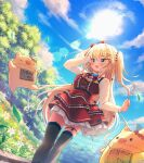 1girl :d akai_haato bangs black_legwear blonde_hair blue_eyes blue_sky blush breasts clouds commentary_request day dress eyebrows_visible_through_hair feet_out_of_frame haaton_(akai_haato) hair_between_eyes hair_ornament heart heart_hair_ornament highres hololive long_hair long_sleeves magowasabi one_side_up open_mouth outdoors red_dress shirt signature sky smile sun thigh-highs twitter_username very_long_hair virtual_youtuber white_shirt x_hair_ornament