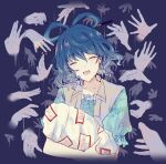 1girl bangs blue_background blue_hair blue_shirt closed_eyes commentary_request cropped_torso disembodied_limb eyebrows_visible_through_hair facing_viewer floral_print hair_ornament hair_rings hair_stick hands highres holding kaku_seiga medium_hair open_mouth ringlets shirt short_sleeves simple_background smile solo talisman touhou upper_body uranaishi_(miraura) vest white_vest