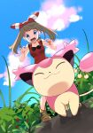 1girl absurdres blue_eyes blue_sky blush bow bow_hairband breasts brown_hair clouds collarbone day dutch_angle from_below gen_3_pokemon hair_bow hairband highres long_hair may_(pokemon) medium_breasts open_mouth outdoors pokemon pokemon_(creature) pokemon_(game) pokemon_oras red_hairband red_shirt shirt skitty sky sleeveless sleeveless_shirt solo standing striped striped_bow twintails v-shaped_eyebrows yuihico
