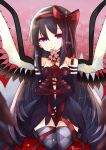 1girl abstract_background akemi_homura akuma_homura alternate_costume argyle argyle_legwear artist_name bangs black_dress black_gloves black_hair black_legwear bound bound_wrists bow branch breasts cat cherry_blossoms choker commentary_request dress elbow_gloves feathered_wings floral_background flower gloves hair_between_eyes hair_bow hair_ornament hair_ribbon half-closed_eyes hands_together highres holding holding_branch holding_flower kneeling long_hair looking_at_viewer mahou_shoujo_madoka_magica medium_breasts petals plunging_neckline red_background red_bow ribbon smile solo spider_lily strapless strapless_dress teruna_(artist) thigh-highs tied_up very_long_hair violet_eyes wings